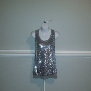 Michael Kors Pearl Heathe Tank Silver – Size S NWT